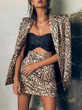 Load image into Gallery viewer, Women's Fashion Tailored Collar Leopard Print Long Sleeve Blazer