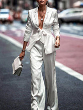 Load image into Gallery viewer, Fashion Solid Color Fold Collar Collar Stitching Suit Wide Leg Pants Suit
