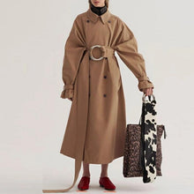 Load image into Gallery viewer, Fashion Solid Color Ruffled Waistband Long Coat