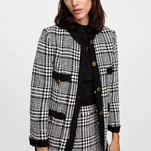 Fashion Twill Plaid Soft Suit Jacket Skirt Suit