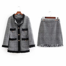 Load image into Gallery viewer, Fashion Twill Plaid Soft Suit Jacket Skirt Suit
