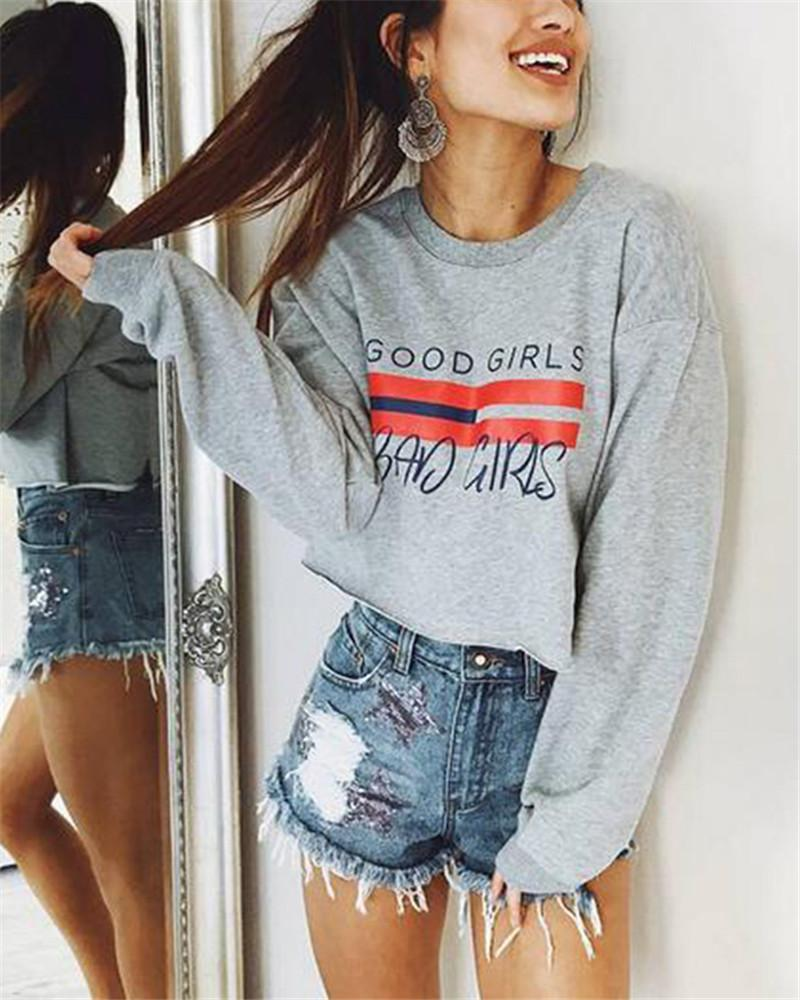 Round Neck Printed Letter Long Sleeve Short Sweater