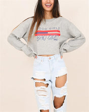 Load image into Gallery viewer, Round Neck Printed Letter Long Sleeve Short Sweater