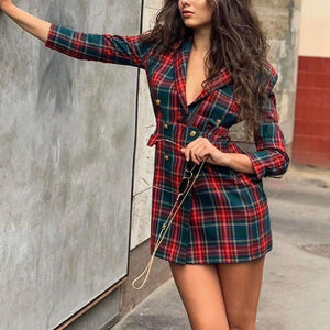Vintage Suit Collar Deep V Plaid Fitted Dress