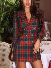 Load image into Gallery viewer, Vintage Suit Collar Deep V Plaid Fitted Dress