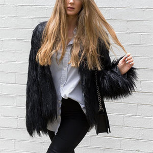 Fashion Round Neck Faux Fur Short Coat Jacket