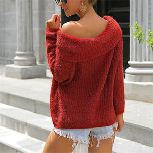 Sexy Pure Color Long Sleeve Sweater