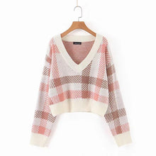 Load image into Gallery viewer, V-Collar Long Sleeve Lattice Sweater