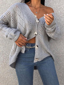 Fashion V-neck Single-row Button Sweater