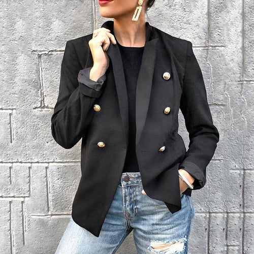 Casual Lapel Pure Color Metal Buckle Blazer