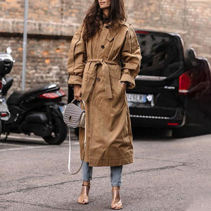 Casual Solid Color Lapels With Long Sleeve Trench Coat