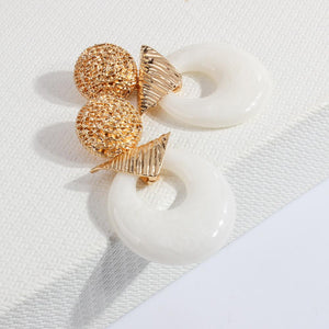 Vintage Acrylic Round Earrings Personalized Metal Splicing Palace Wind Earrings