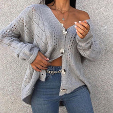 Load image into Gallery viewer, Fashion V-neck Single-row Button Sweater