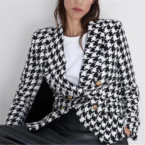 Fashion lapel plaid print long sleeve jacket