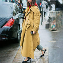 Load image into Gallery viewer, Casual Solid Color Lapel Loose Long-sleeved Trench Coat