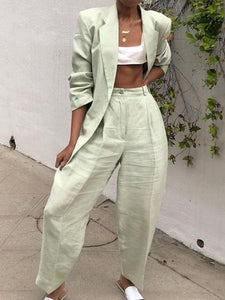 Fashion Folded Collar Solid Color Ladies Suit Pants Set