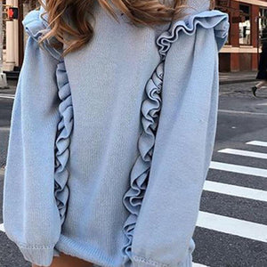 casual ruffled roundn eck long sleeves loose sweater