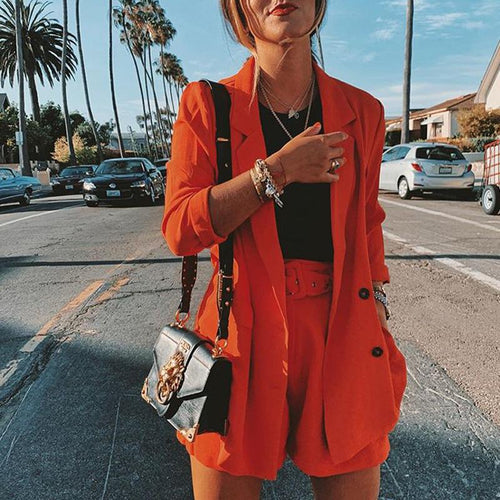 Fashion Solid Color Lapel Long Sleeve Small Suit