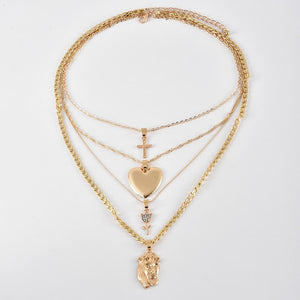 Cross Heart Flower Pendant Multilayer Necklace