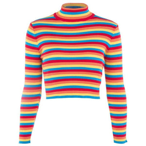 Sweet rainbow striped high round neck short knit top
