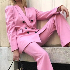 Sweet Pink Loose Double Breasted Professional Blazer