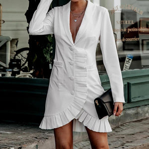 Women's Fashion White Pleated Irregular Hem Outerwear