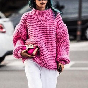 Round neck long sleeve pink loose knit sweater