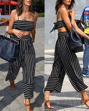 Load image into Gallery viewer, Sexy Navel Sling & Striped Wide Leg Pants Set