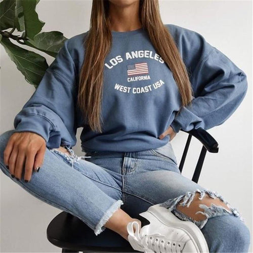 Fashion Round Neck Long Sleeve Print Sweater