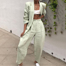 Load image into Gallery viewer, Fashion Folded Collar Solid Color Ladies Suit Pants Set