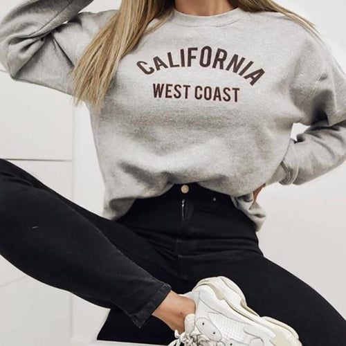 Women's Fashion Long Sleeve Letter Printed Colour Sweater