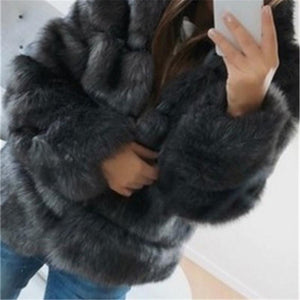 Women's Fashion Pure Colour Long Sleeve Plush Coat