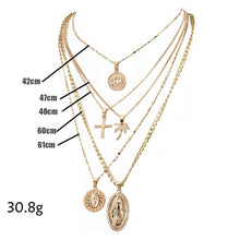 Load image into Gallery viewer, Exaggerated Lotus Madonna Cross Multilayer Necklace