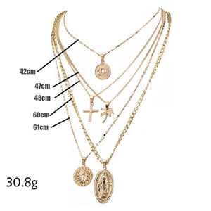 Exaggerated Lotus Madonna Cross Multilayer Necklace