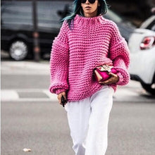 Load image into Gallery viewer, Round neck long sleeve pink loose knit sweater