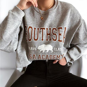 Fashion round neck print long sleeve sweater