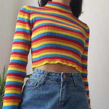 Load image into Gallery viewer, Sweet rainbow striped high round neck short knit top