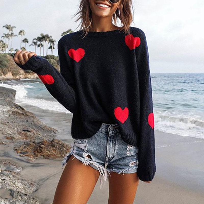 Casual Love Pattern Long Sleeve Sweater