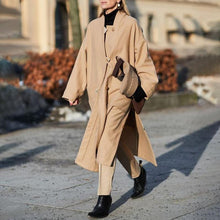 Load image into Gallery viewer, Fashion Solid Color Single-breasted Off-shoulder Long-sleeved Woolen Coat