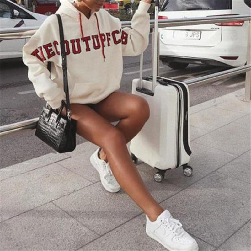 Hooded letter printed long sleeve sweater