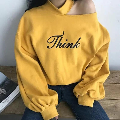 Half-High Collar off-Shoulder Sweater