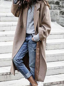 Women's Casual Turndown Collar Long Sleeve Pure Color Coat&Overcoat