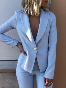 Commuting Pure Colour Single Button Blazer
