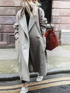 Modern Long Sleeve Solid Colour Loose Trench-Coat
