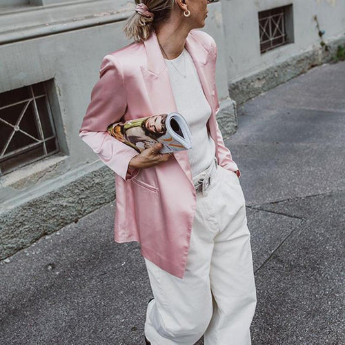 classic suit collar long sleeves slit pockets pink blazer