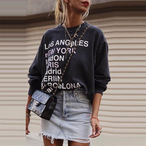 Simple round neck print long sleeve loose sweater