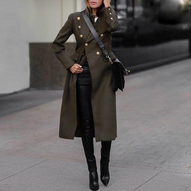 Autumn and winter fashion pure color long warm coat