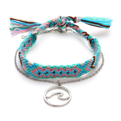 cotton om yoga anklet turquoise