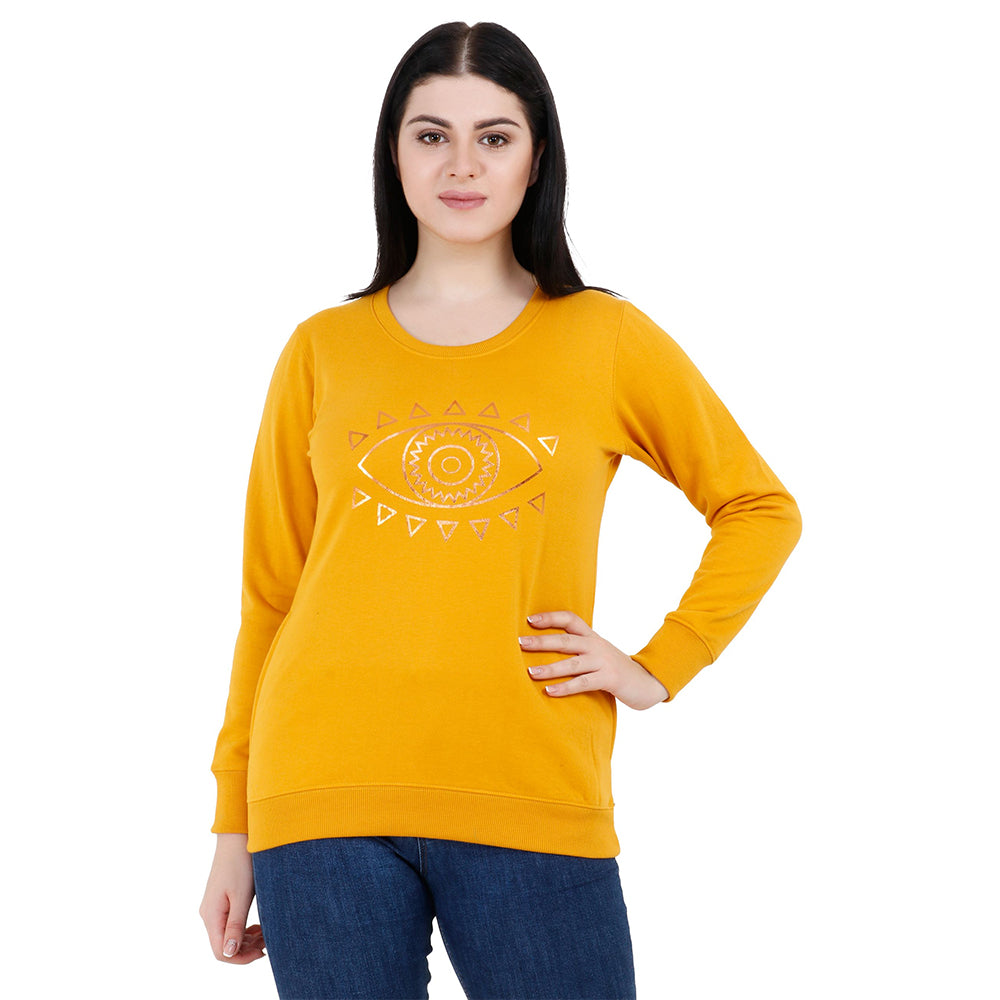 EYE SPY YELLOW & Silver Women's Fleece Sweatshirts