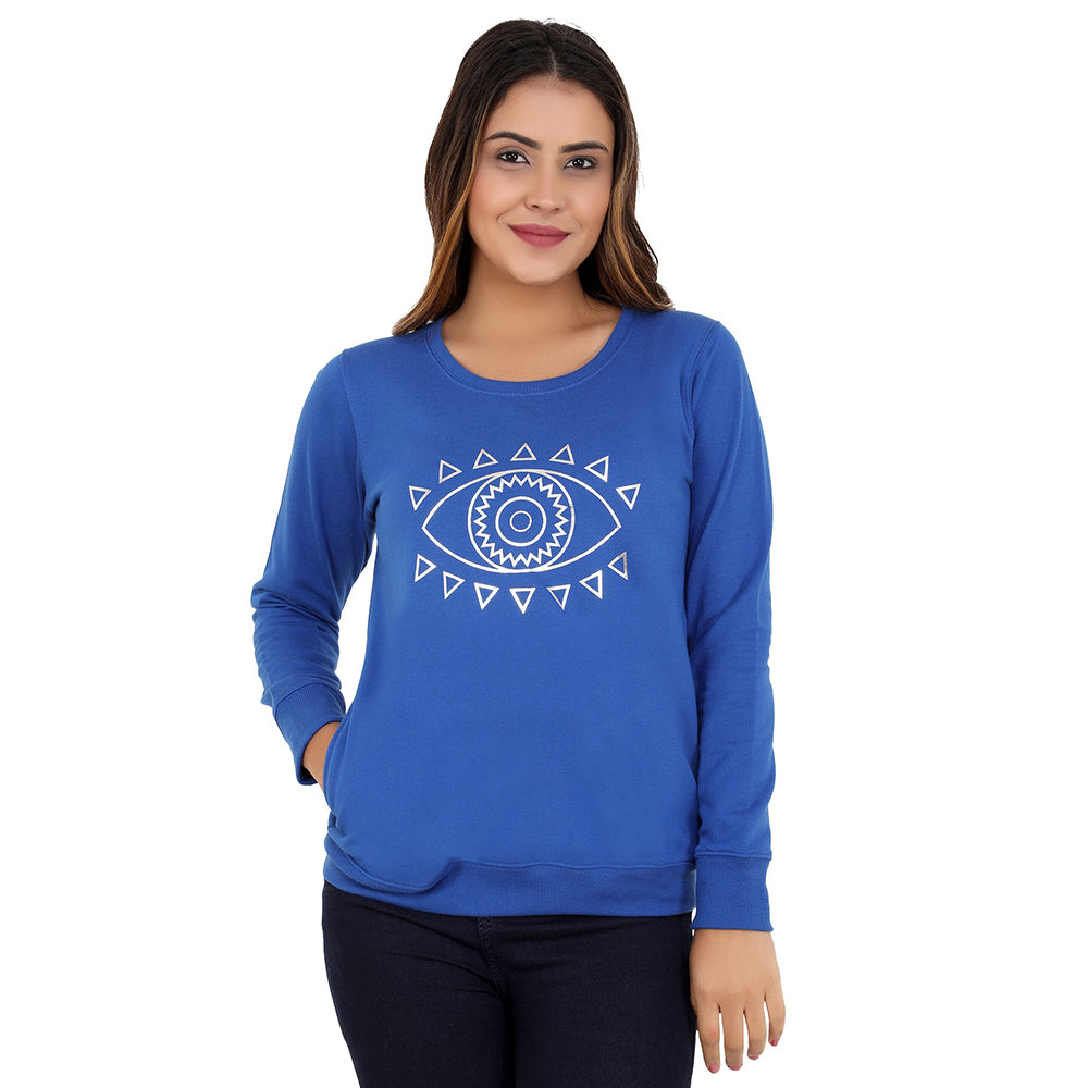Eye spy silver on blue sweatshirt